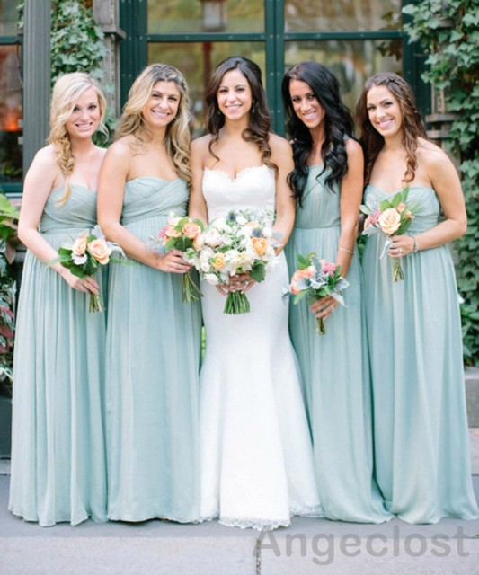 2017 Dusty Blue Bridesmaid Dresses Long Sweetheart Off Shoulder Pleated Country Beach Plus Sizewedding Guest Party