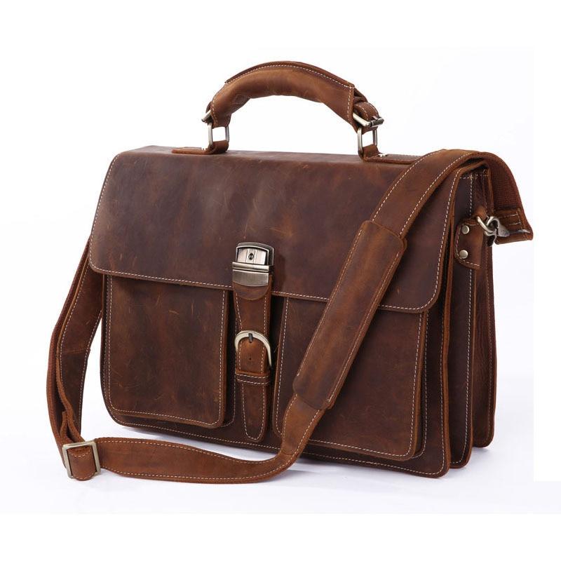 Great Vintage Crazy Horse Leather Men Business Handbag Cowhide Male Briefcase Big Capacity Tote Bag Fit