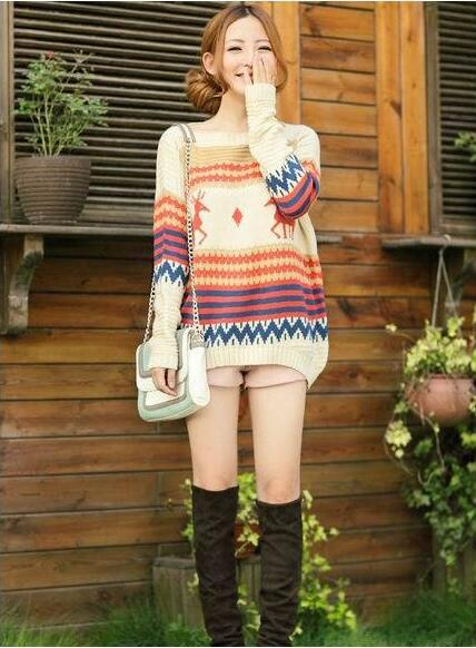 autumn winters the reindeer wave pullovers long-sleeved sweater Christmas gift
