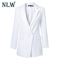 NLW Casual Blazer Playsuits Women Rompers Long Sleeve Double Pocket Button V neck Autumn Winter 2018 Short Jumpsuit Overalls