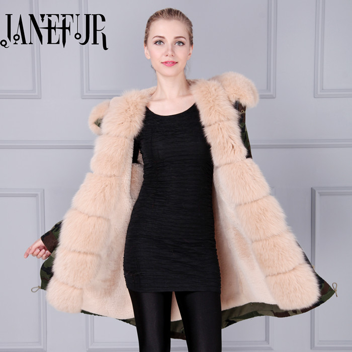 New Winter Women Camouflage Parka Down Jacket Coat Long Fox Fur Hooded Warm Outwear Fashion Thick Overcoat Military Design thick hooded down jacket women slim print long winter coat camouflage y160