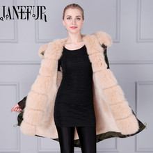 New Winter Women Camouflage Parka Down Jacket Coat Long Fox Fur Hooded Warm Outwear Fashion Thick Overcoat Military Design
