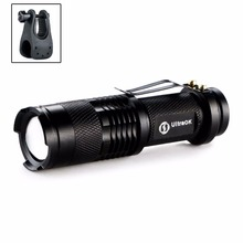 Portable CREE Q5 Adjustable Focus 2000 Lumens LED Flashlight Torch AA 14500 Mini Penlight Lantern bike Bicycle Torch Clip Holder