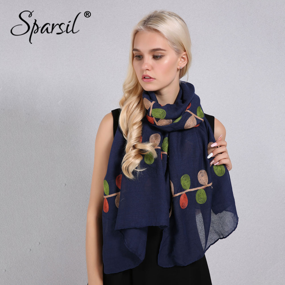 Sparsil Women Cotton Linen Scarf Natural Chic Plant Embroidery Shawls Wrap Thin Soft 180x90 Pashmina Hijab Scarves Travel Beach