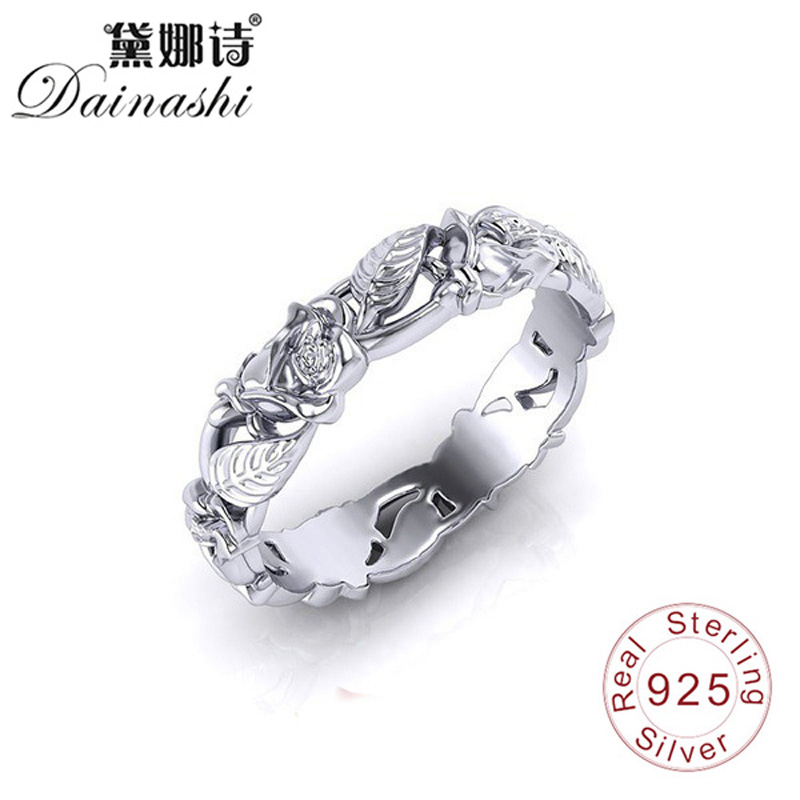 Dainashi 925 Silver Rings Fine Elegant 3D Openwork Flower Design Poetic Finger Ring For Women Multiple Size Fashion Jewelry New