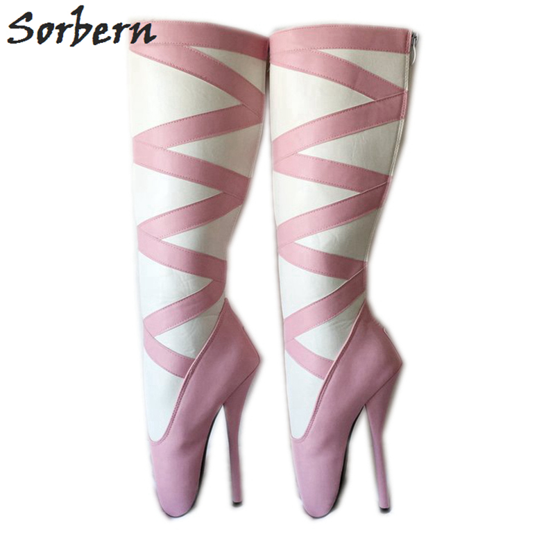 Sorbern Pink And White Knee High Boots Women 18Cm Ballet High Heel Shoes Sm Unisex Booties
