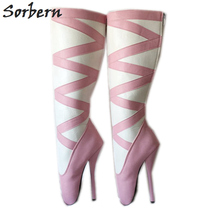 Sorbern Pink And White Knee High Boots Women 18Cm Ballet High Heel Shoes Sm Unisex Booties Custom Wide Fit Leg Back Zipper