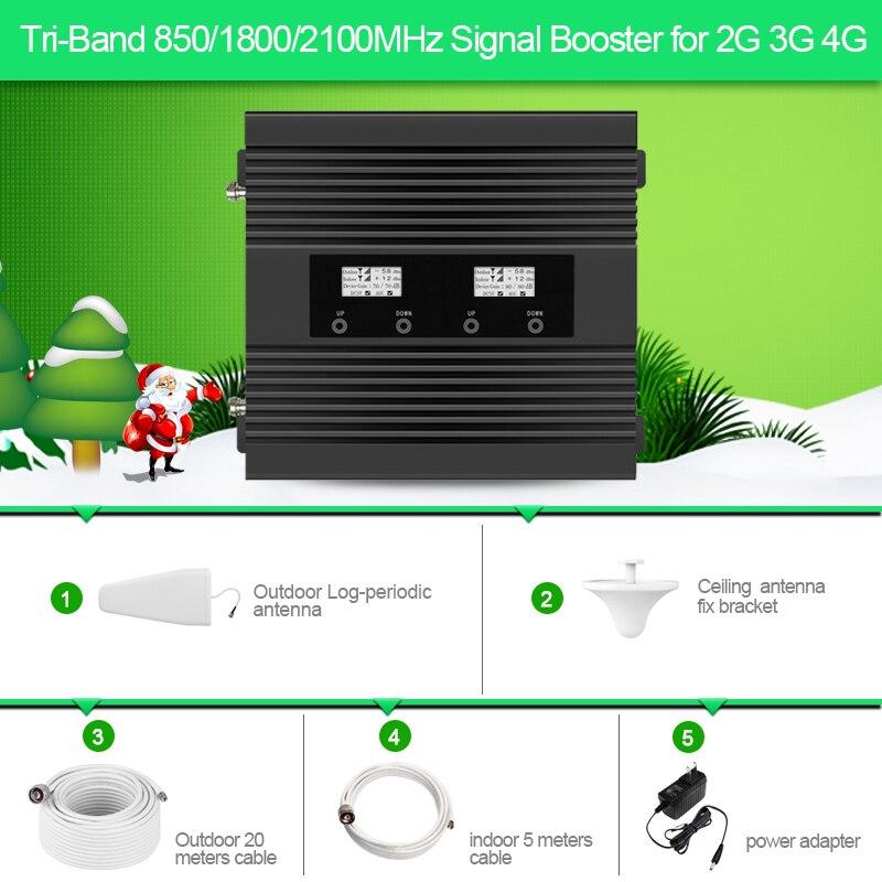 Répéteur de signal mobile Tri-bande 850/1800/2100 MHz 2G 3G 4G pour l'australie, la nouvelle-zélande