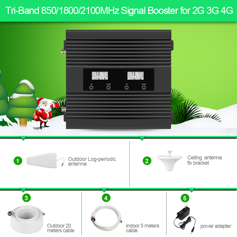 Tri -band 850/1800/2100MHz Mobile Signal Booster 2G 3G 4G  Signal Repeater For Australia,New Zealand