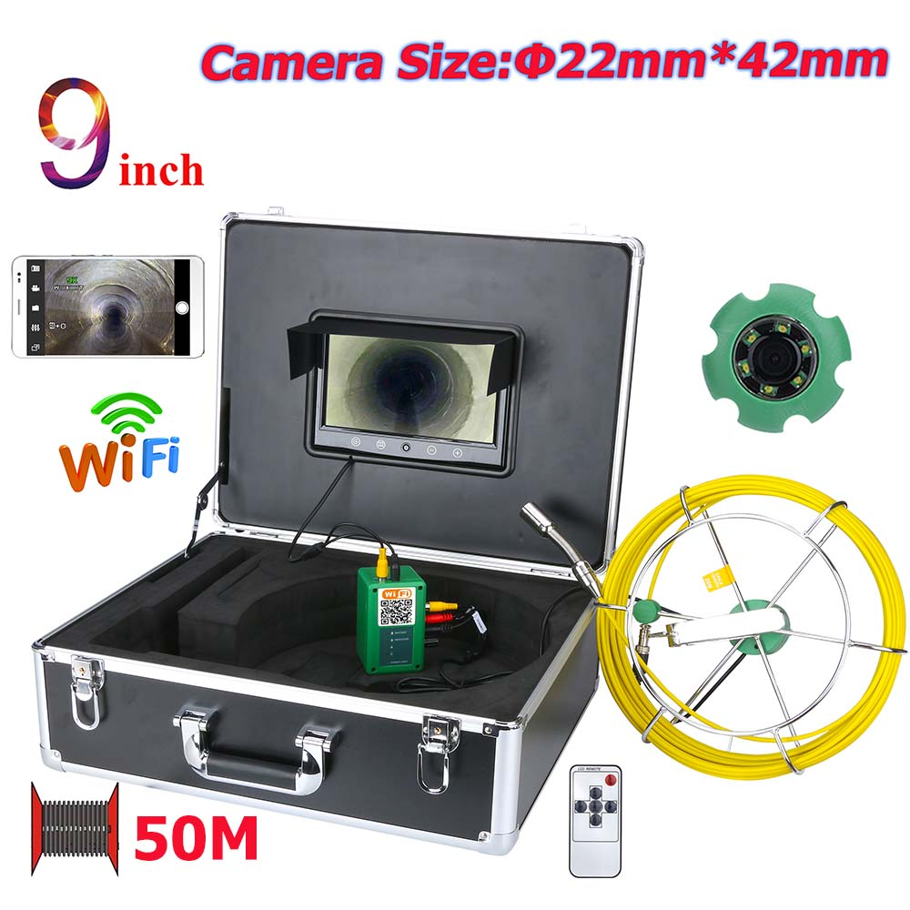 9inch WiFi Wireless 22mm Industrial Pipe Sewer Inspection Video Camera System IP68 1000 TVL Camera with 8pcs Lights9inch WiFi Wireless 22mm Industrial Pipe Sewer Inspection Video Camera System IP68 1000 TVL Camera with 8pcs Lights
