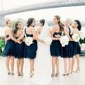 Navy Blue Sweetheart Bridesmaid Dresses Short Wedding Chiffon Formal Dress 2016