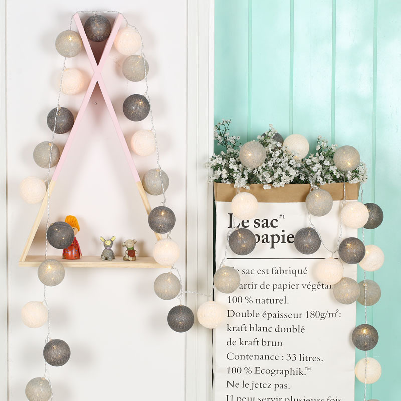 LED-lichtslingers Fairy Holiday Decoration Light 20 Leds Cotton Ball - Vakantie verlichting - Foto 4