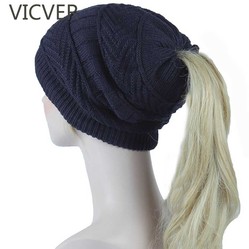 Ponytail   Beanie   Hat Winter Knitted Fleece Hats Dual Use Men Women Cap Ladies   Skullies     Beanies   Warm Caps Casual Crochet Hat Scarf
