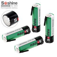 4pcs Soshine 1 2V 2500mAh Ni MH NiMH Rechargeable Battery With Nickel Sheet For Screwdriver Drill