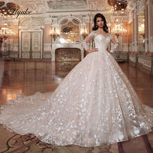 Liyuke Embroidery Lace With Scalloped Neck Ball Gown Wedding Dress Of Full Sleeve