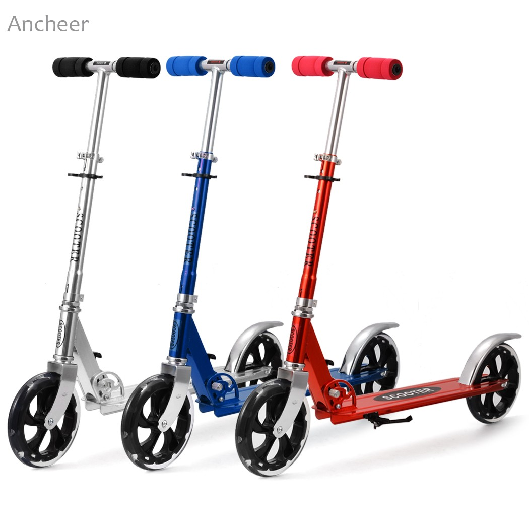 Hot Sale Aluminum Alloy Foot Scooters Adult Children Scooter Kick scooters Adjustable Folding Kickboard 2 Wheels Patinete Adulto child skateboard car foot scooters breaststroke scooter kick scooters children best birthday gift tb331116