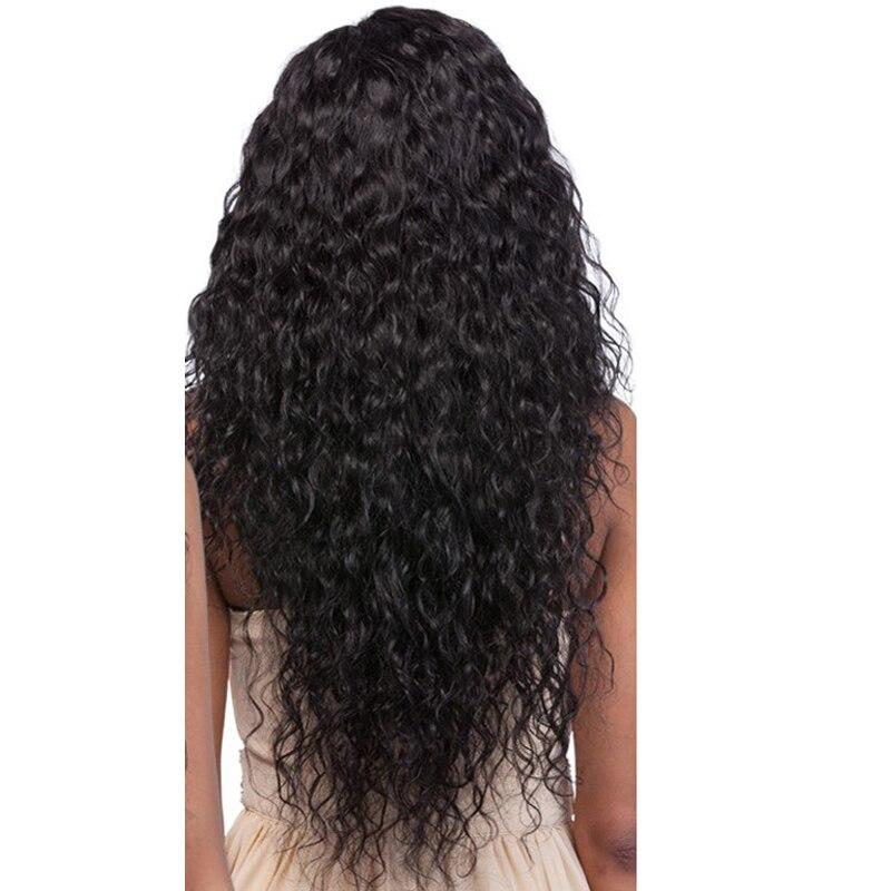 Парик волны воды 250 плотность Синтетические волосы на кружеве натуральные волосы парики для женский, черный 13x4 Синтетические волосы на круж