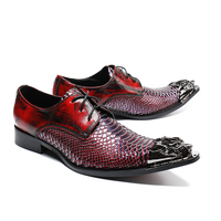 High end iron toe red genuine leather crocodile pattern pointed dress shoes men's British tie business wedding dress Shoes