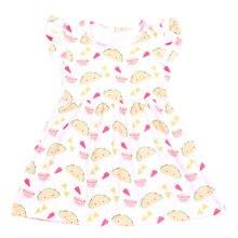Tatlı Tarzı Moda Bebek Kız Elbise Karikatür Hamburger Baskılı Elbise 1 Adet Serin Yaz Elbiseler Kolsuz Milksilk