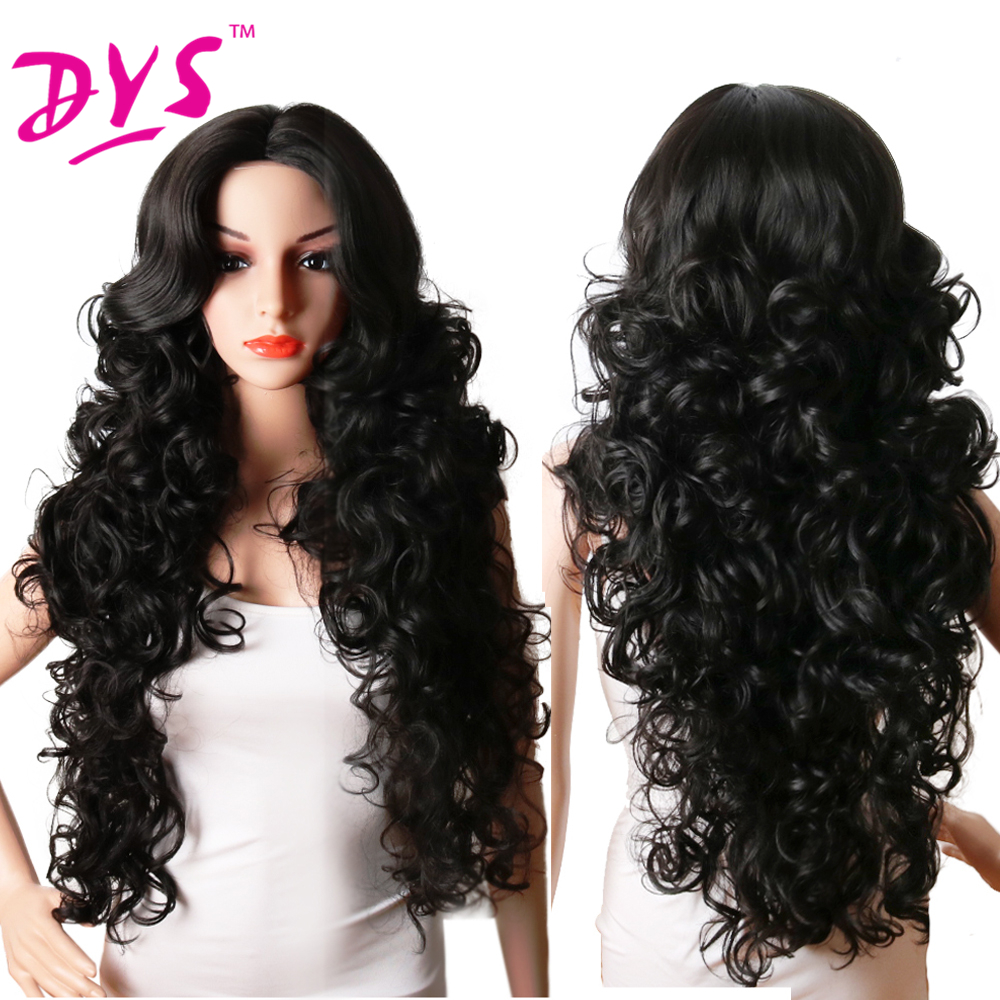Deyngs Long Body Wavy Synthetic Wigs For Black Women 28Inch Natural Black Hair Wigs With Bangs Heat Resistant (6)