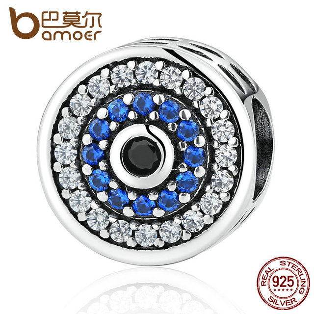 BAMOER Real 100% 925 Sterling Silver Blue Crystals Eyes Round Bead Charms Fit Wo