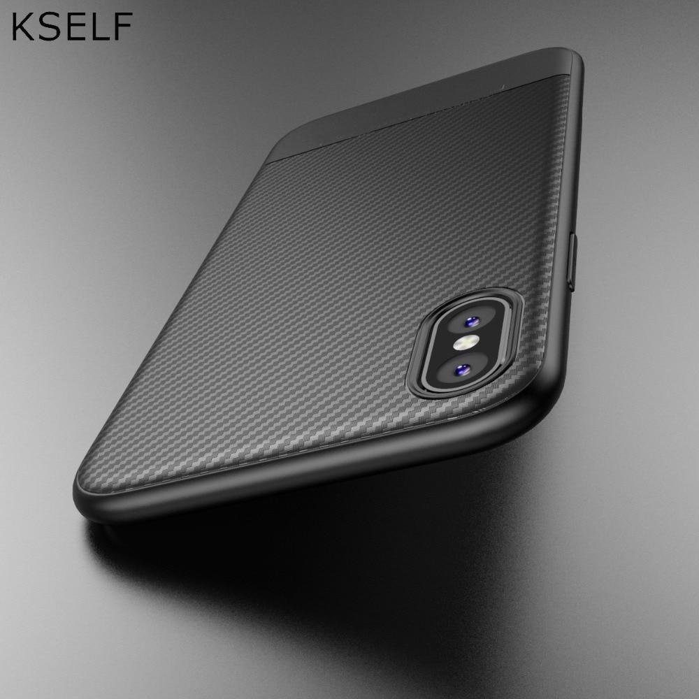 KSELF Novo Ultra-fina Caso de Telefone de Silicone Para iphone 7 8 6 6s Plus X XS Suave de Volta de Proteção coque capa Para iphone X XS 7 8 Plus