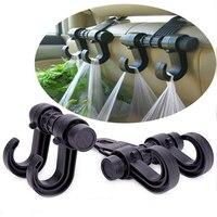 Black Automotive Car Back Seat Hooks for Grocery Shopping Hanger Flexible Car Rack Clip Car Headrest Bag Hook