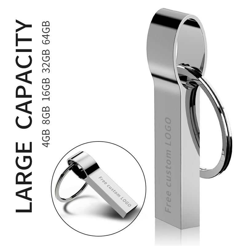 Image 3 - USB 2.0 high quality usb flash drive Metal 32GB keychain usb flash 4GB 8GB 16GB 64GB waterproof silver pen drive 128GB free LOGO-in USB Flash Drives from Computer & Office