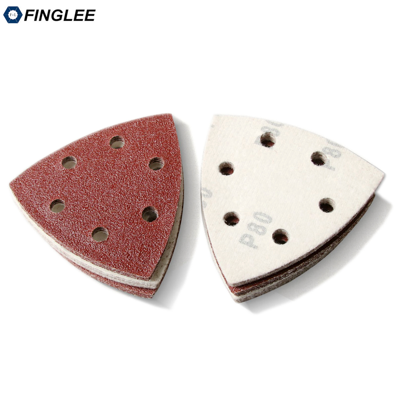 20pcs 90*90mm Aluminium Oxide Sanding Paper With 6 Holes Loop Backing,Abrasive Tools Sander Disc Grit 40 60 80 100 120 180 240