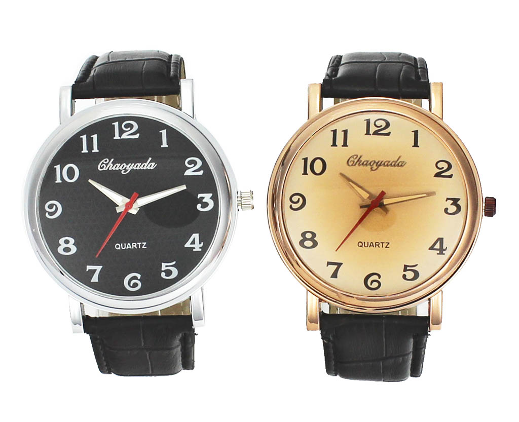 Mens 43 mm Large Dial Gold Silver Color Case Male Leather ...