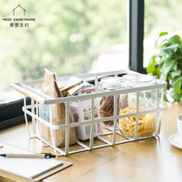MDZF SWEETHOME Simple Fruit Basket with Handles Iron Round Wire Basket for Storing Organizing Vegetables