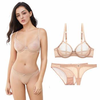 5e7de4d31fc3 Shaonvmeiwu Ultra delgada transparente de malla bordado conjunto sujetador Lencería  ver a través de la seducción rosa. US $11.63. Nueva ropa interior sexy ...