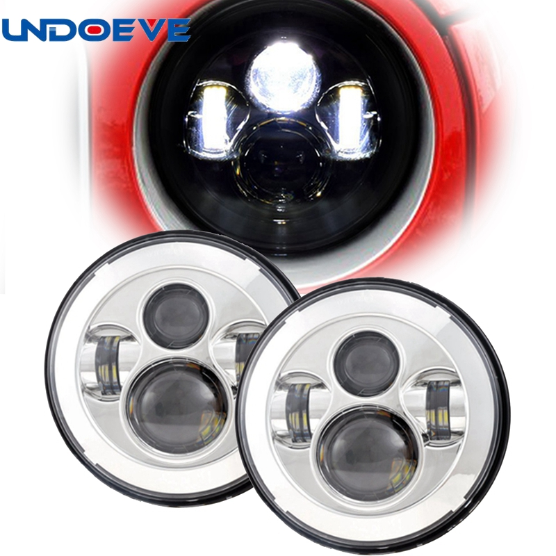 For Lada 4x4 urban Niva 2121 7 black LED H4 headlight daymaker lamps headlamp for Jeep Wrangler JK TJ LJ Land Rover Defender