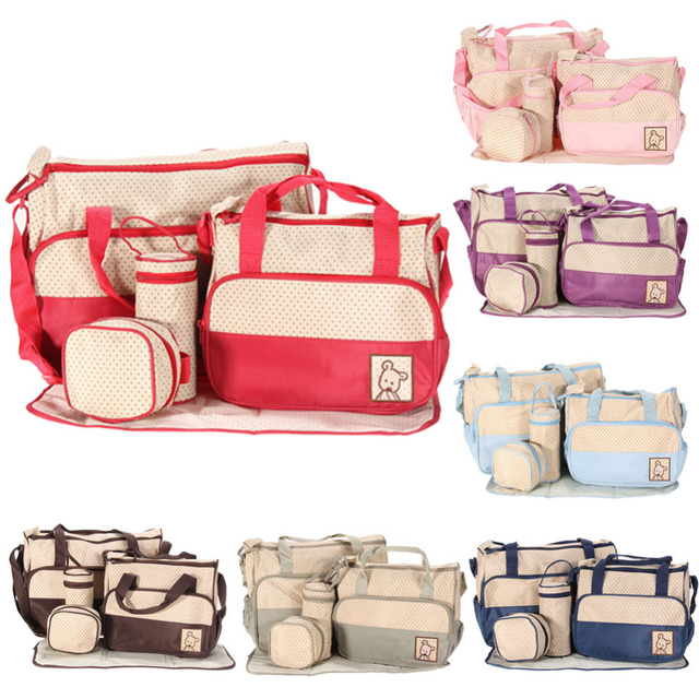 5pcs Multifunctional Baby Mummy Diaper Bag Ny Changing Shoulder Pack Maternity Stroller Handbag Newborn Nursing