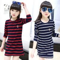 Kids Girls Dress Cotton Striped Long Sleeve Girls Clothing Autumn Casual Children Girls Dress 4 5