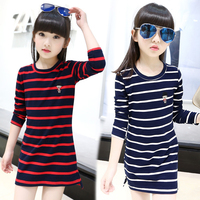 Kids Girls Dress Cotton Striped Long Sleeve Girls Clothing Autumn Casual Children Girls Dress 4 5