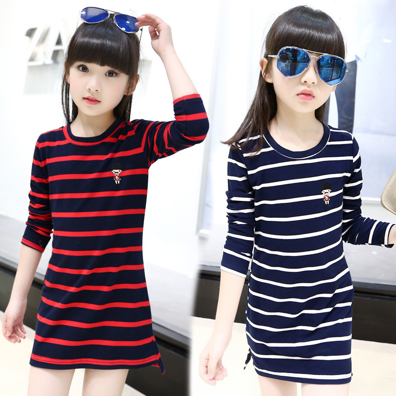 Kids Girls Dress Cotton Striped Long Sleeve Girls Clothing Autumn Casual Children Girls Dress 4 5 6 7 8 9 10 11 12 13 14 Years girl dress autumn white long sleeved clothes korean cotton size 4 5 6 7 8 9 10 11 12 13 14 years kids blue lace princess dress