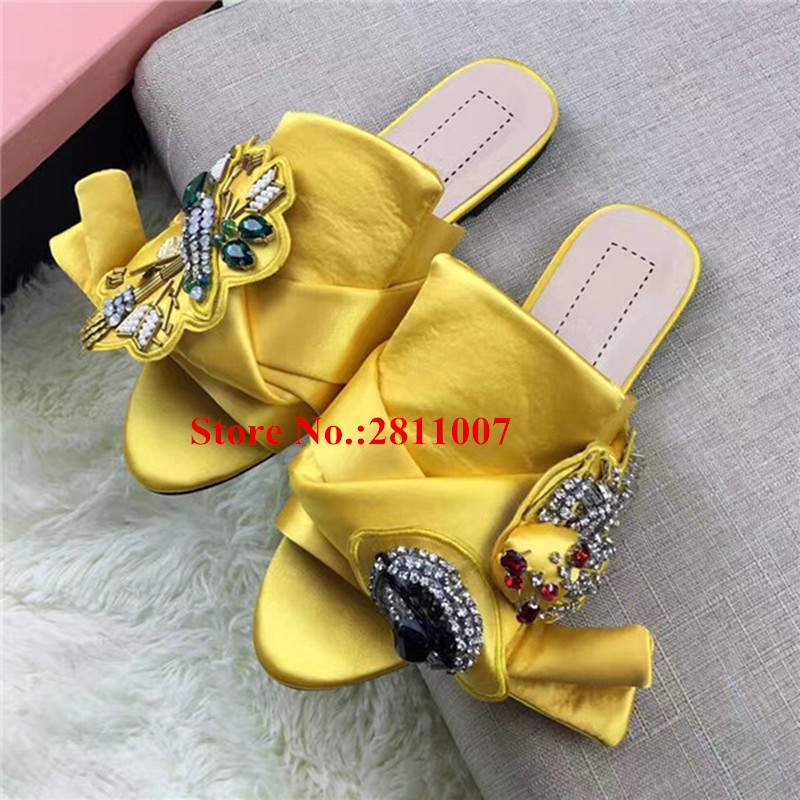 Hot Summer Yellow Stain Bowtie Women Flat Slides Peep Toe Embellished Crystal Butterfly-Knot Super Shoes Woman Runway Slipper цепочка