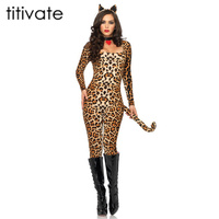 TITIVATE Adult Womens Cat Costume Sexy Costume Leopard Animal Cosplay Woman Halloween Female Leopards Sexy Costume