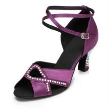 e296fb66 Nuevos zapatos de baile latino de satén de diamantes de imitación para mujer  zapatos de baile latino sexi de Color morado negro .