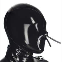 handmade rubber latex sexy exotic lingerie black full face mask breath by nose tube hood hoods cekc zentai fetish