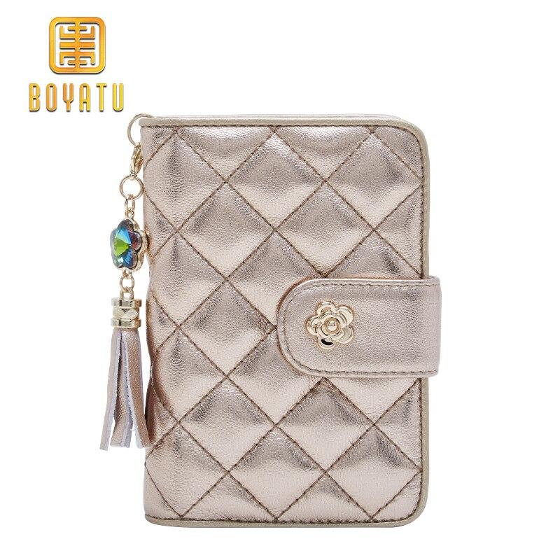 1e49eb302 Cartera de cuero genuino para Mujer, carteras de moda para Mujer y monederos  de lujo bolso de mano dorado para Mujer