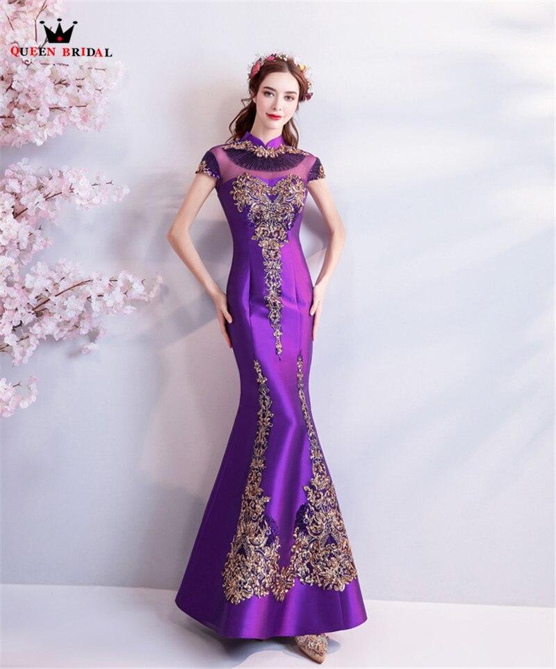 Mermaid High Neck Satin Embroidery Beading Sexy Purple Evening Dresses Prom Dresses Gowns Vestido De Festa QUEEN BRIDAL NT04 - 4