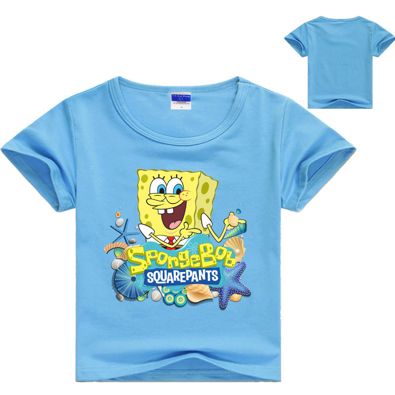 Cartoon SpongeBob T Shirt Boys Girls 2018 Summer Children's Clothing Cotton Toddler Girl Tops Tee Boy Kids T-shirt 3-14Y summer casual little big sisters brothers matching tee shirt baby kids boy girl cotton tops t shirt clothing