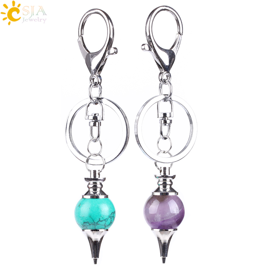 CSJA Reiki Natural Stone Pendant Pendulum Keychains Hanging Bike Car Buckle Key Rings Holder Purple Pink White Crystal Ball E823
