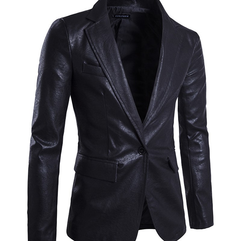 Men's New Blazer High Quality Single Button Jacket Men Soft PU Leather Brand Jackets Top Coat Men's Suit Clothes