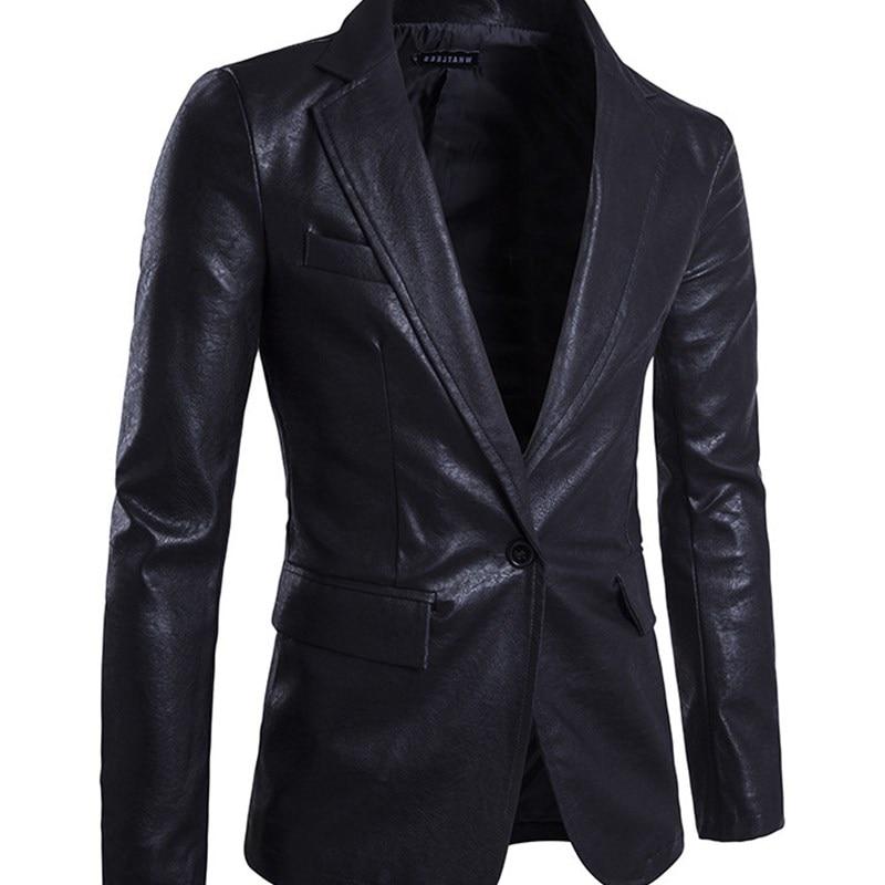 Men's New Blazer High Quality Single Button Jacket Men Soft PU Leather Brand Jackets Top Coat Men's Suit Clothes