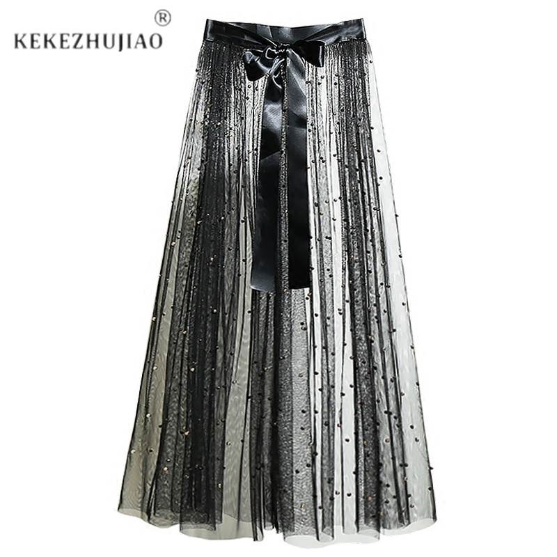 One Layer Tulle Mesh Skirts Long See Through Overlay Beads Skirt Bow Hot Saia Faldas Mujer Casual Overskirt Sheer Party A Line