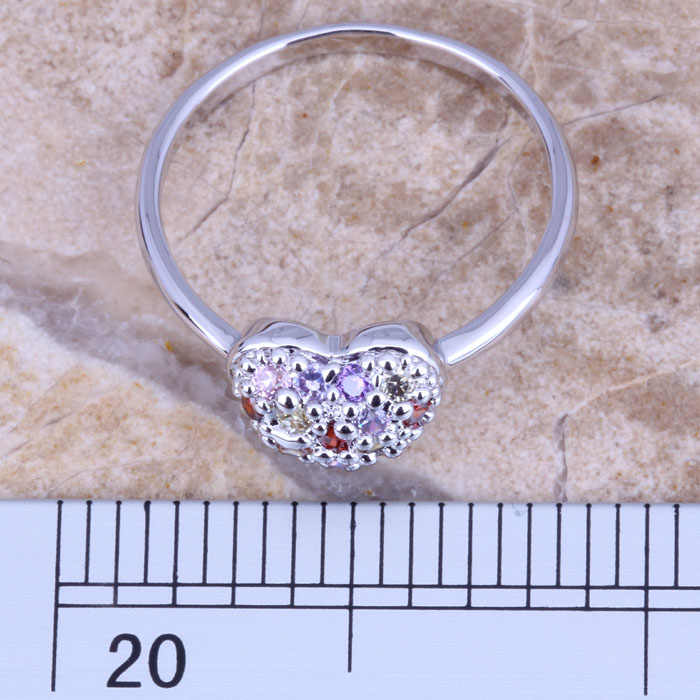 สนุกMulticolorสีแดงโกเมนเงินผู้หญิงเครื่องประดับแหวนขนาด 6 / 7 / 8 / 9 R0660