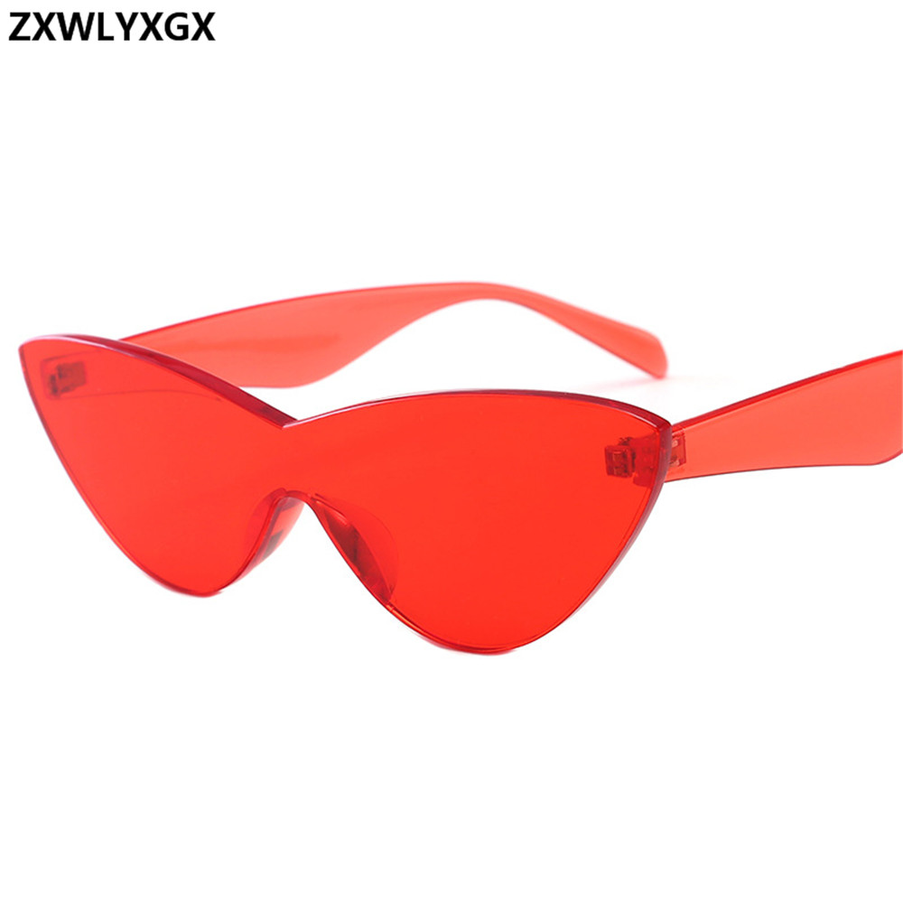 ZXWLYXGX 2018 European and American candy color glasses cat eye sunglasses one-piece sunglasses Women Brand Wind European image
